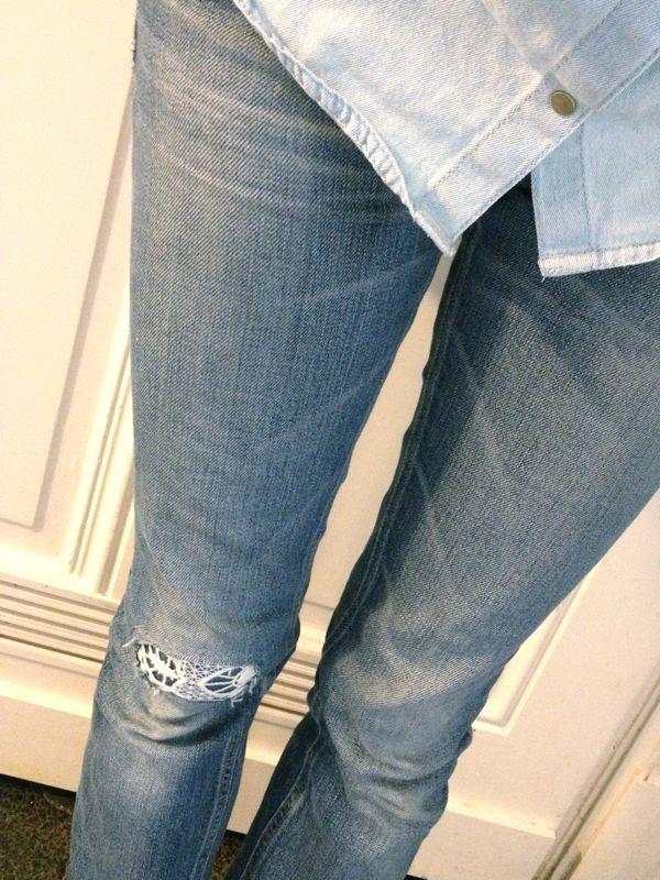 DIY - Jeans mit Spitze flicken