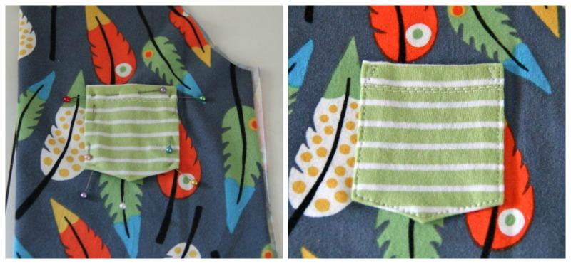 Collage Brusttasche aufnähen 3