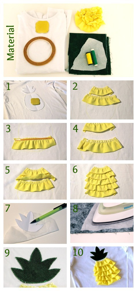 DIY Ananasshirt Collage