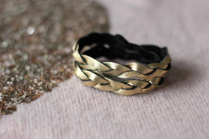 Lederarmband gold + silber - 4