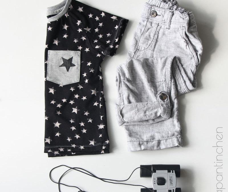 genäht – {Sterneshirt mit Papier-Applikation}