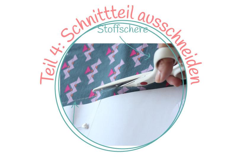 """kleine Nähschule – {Wie kommt der Schnitt auf den Stoff – Teil 4: Schnittteil ausschneiden und """"knipsen""""}"""