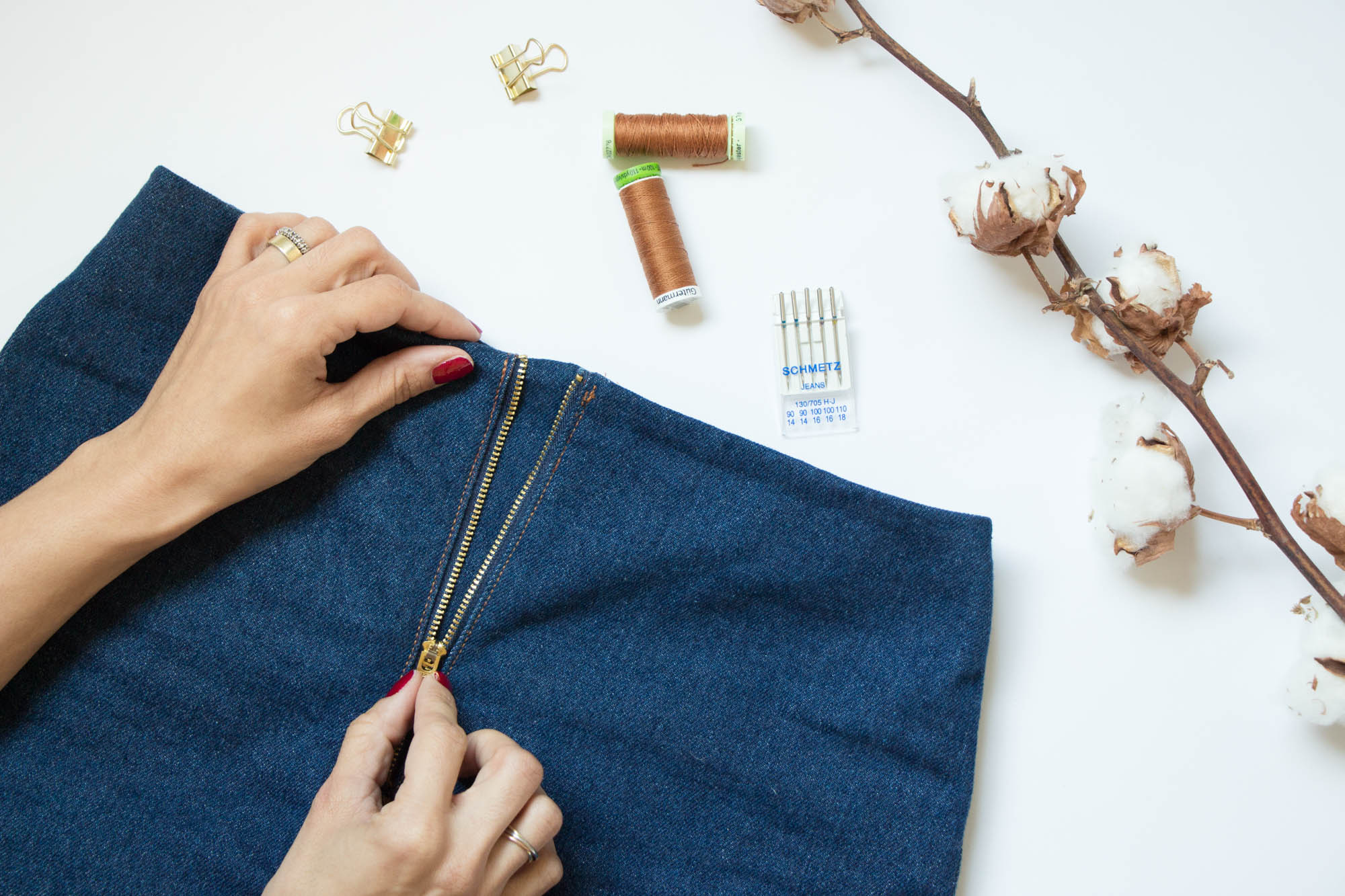 Jeans nähen mit sichtbarem Reißverschluss