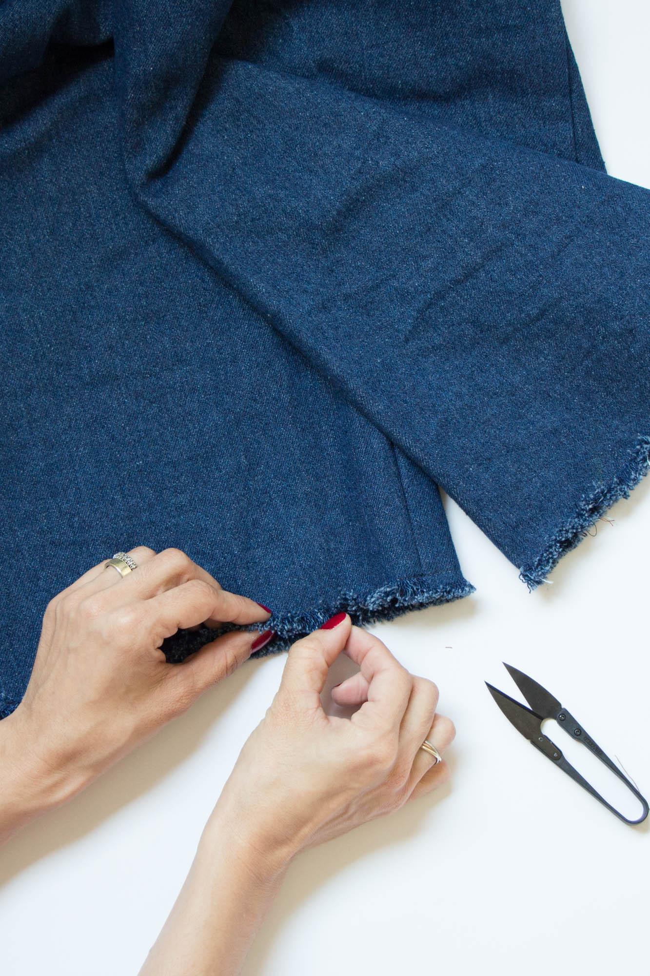 Jeans nähen - Hosensaum ausfransen