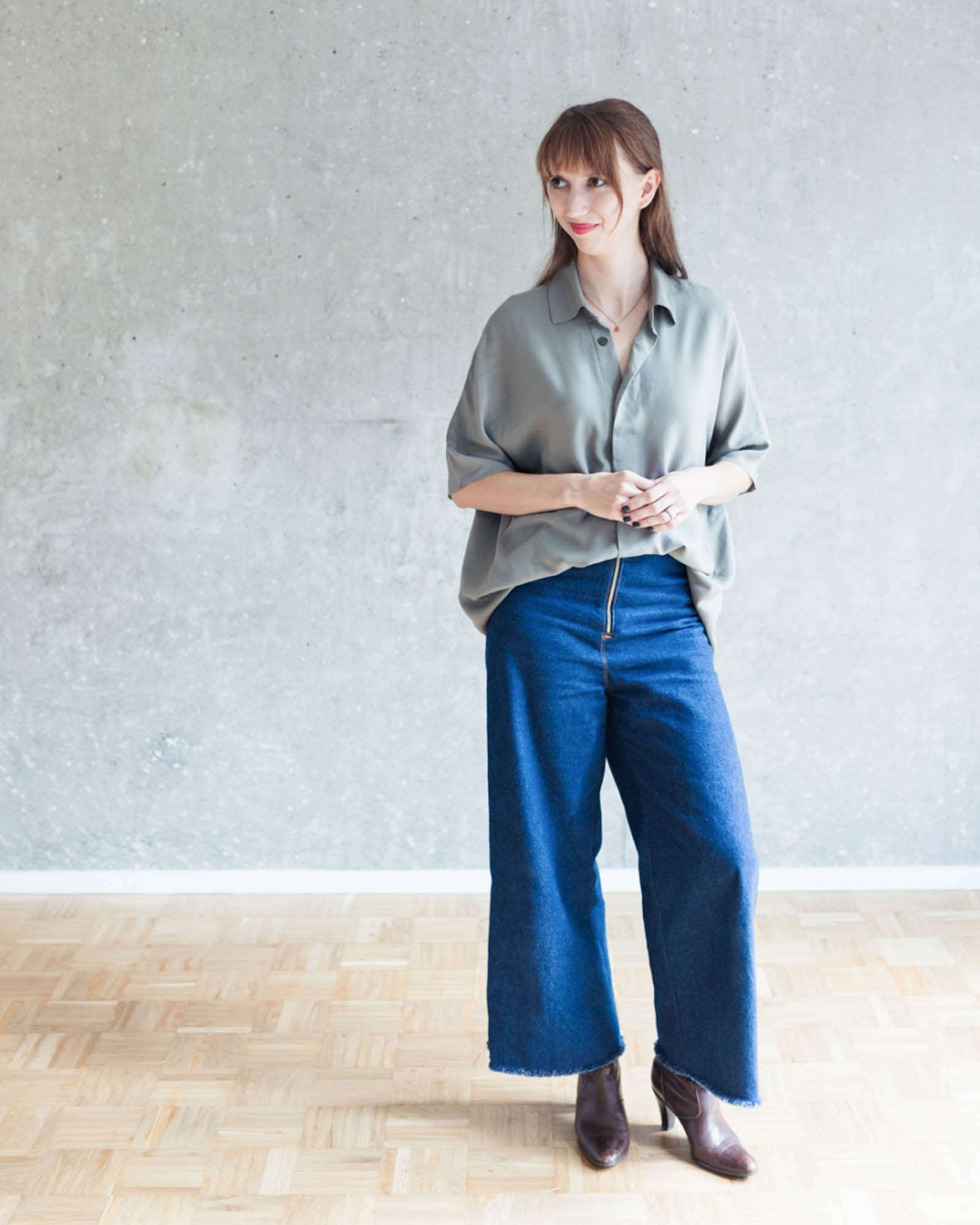 Jeans nähen - Outfitidee mit Bluse Cocoon