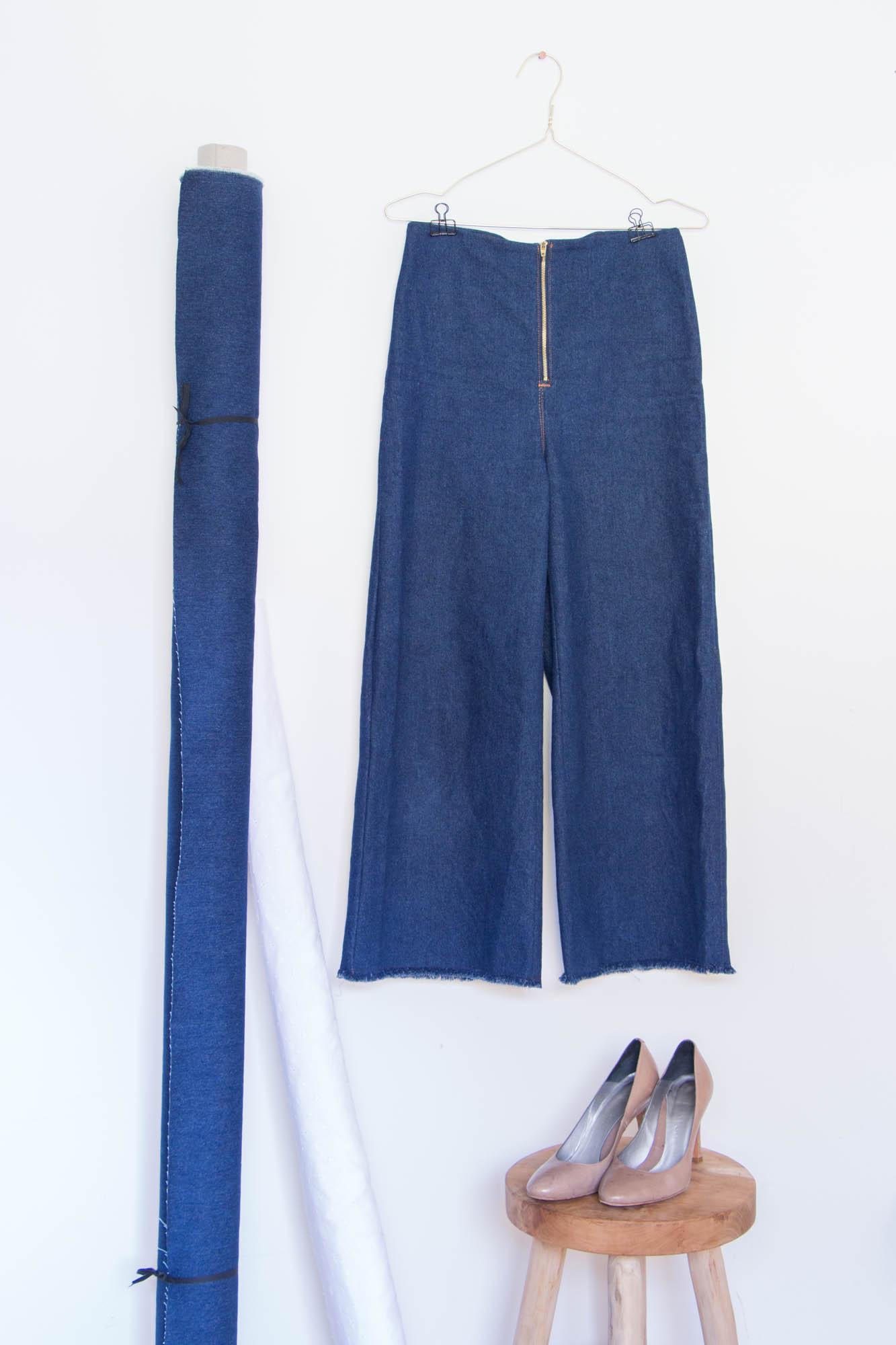 Jeans nähen - Jeanshose mit weitem Bein und hoher Taille