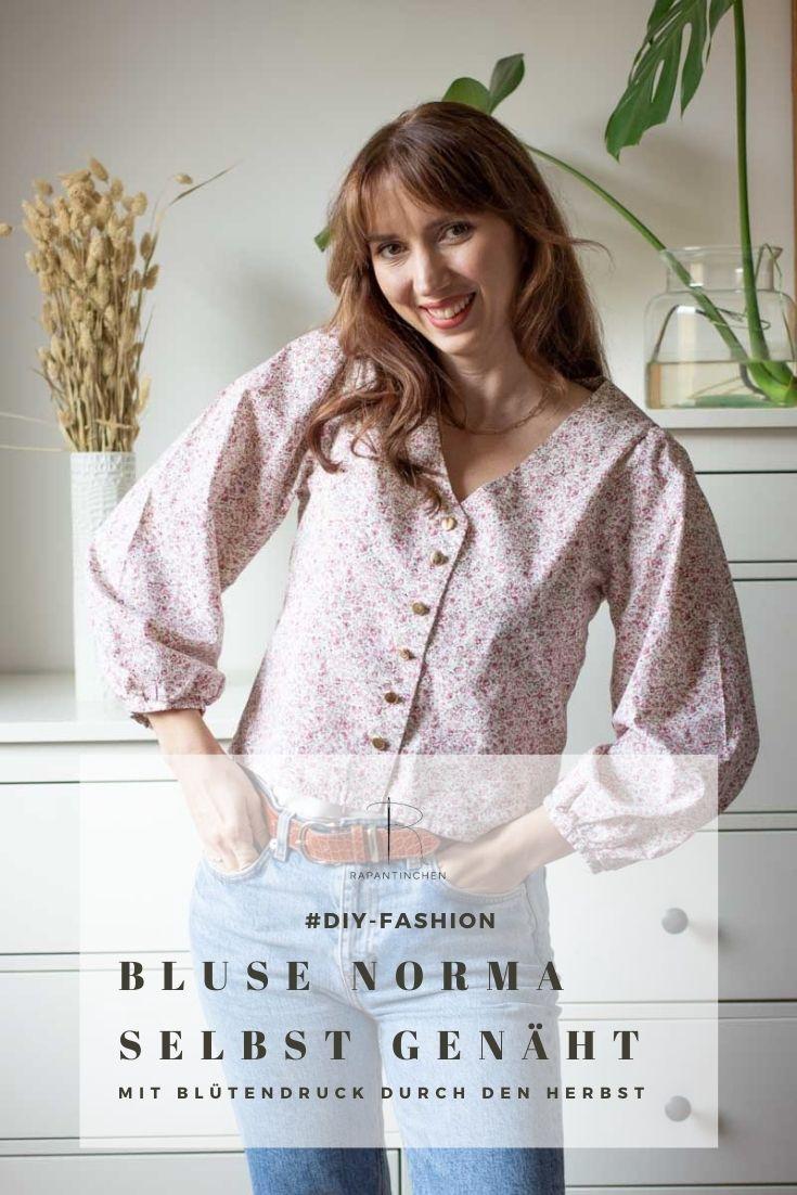 Pinterest-Bild der Bluse Norma, genäht aus Blüten-Baumwolle