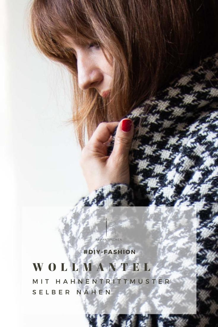 Wollmantel mit Hahnentrittmuster Collage für Pinterest